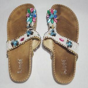 Linda Shoes 💚 Beautiful Beaded Sandals